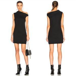 HELMUT LANG Asymmetric Wool Blend Mini Dress
